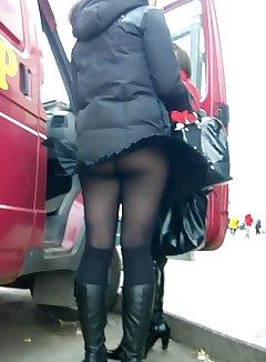 Nude bus upskirt