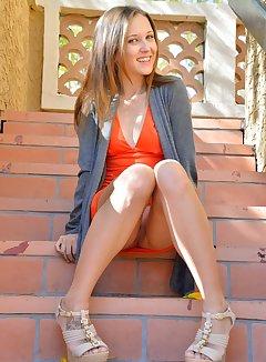 Nude stairs upskirt